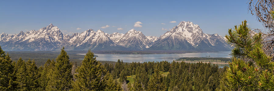 Grand Tetons Over Jackson Lake Panorama Photograph  - Grand Tetons Over Jackson Lake Panorama Fine Art Print