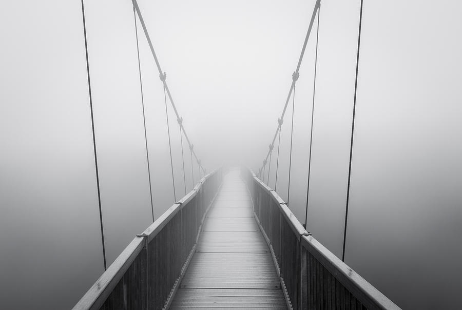 Grandfather Mountain Heavy Fog - Bridge To Nowhere Photograph