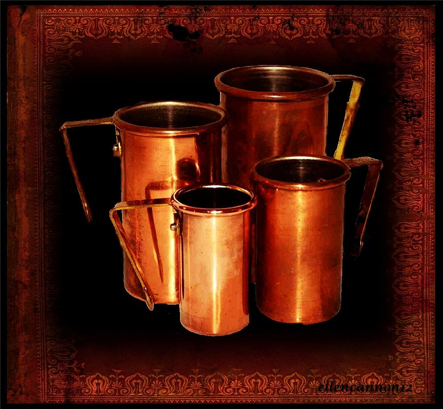 Grandmas Kitchen-copper Measuring Cups Photograph