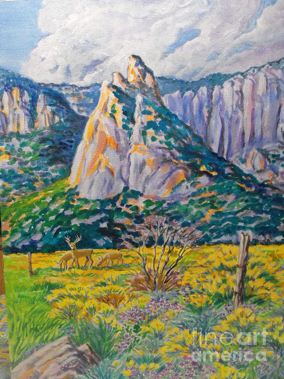 Original Acrylic Paintings 24 In . By 17in. No Frame. Four Corners Western Art. Fall Colors In Rabbit Brush Digital Art - Granite Feature In Unaweep by Annie Gibbons