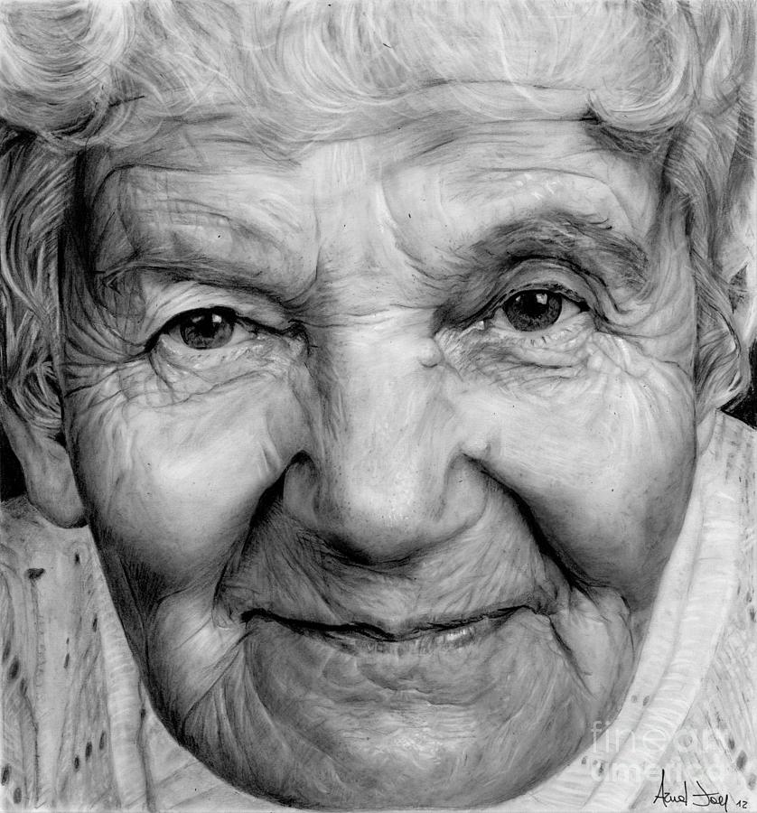 Grannies 12#03 Drawing  - Grannies 12#03 Fine Art Print