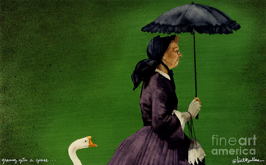 Will Bullas Painting - Granny Gets A Goose... by Will Bullas