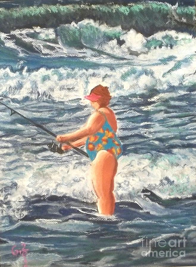 Granny Surf Fishing Painting  - Granny Surf Fishing Fine Art Print