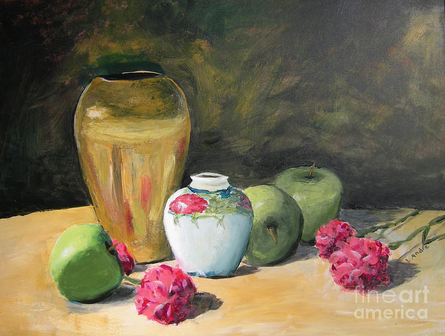 Still Life Painting - Grannys Apples by Lilibeth Andre