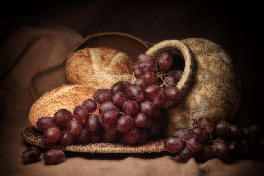 Grapes With Bread Still Life Photograph By Tom Mc Nemar