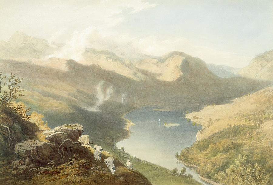 Print Drawing - Grasmere From Langdale Fell, From The by James Baker Pyne