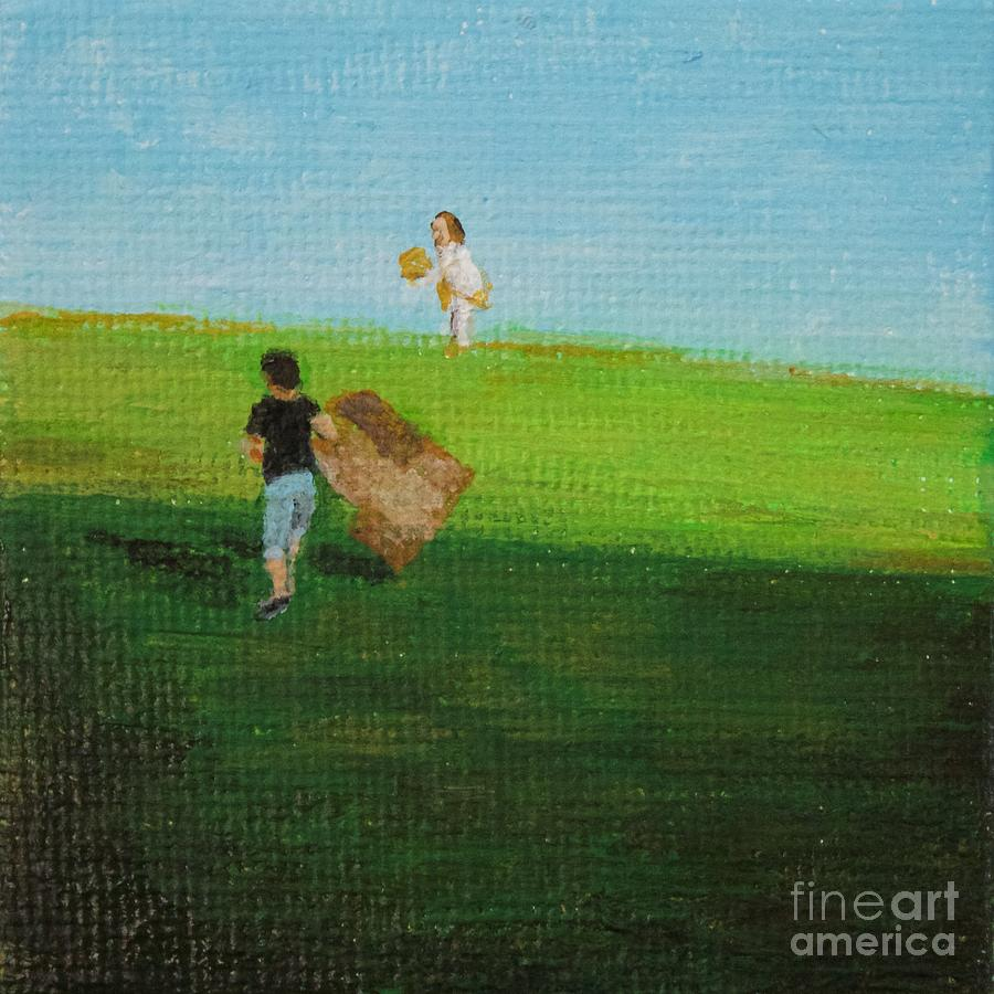 Grass Painting - Grass Sledding  by Amber Woodrum