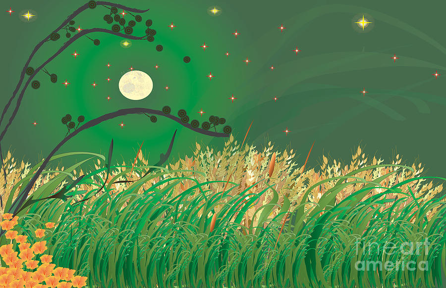 Moon Digital Art - Grasses In The Wind by Kim Prowse