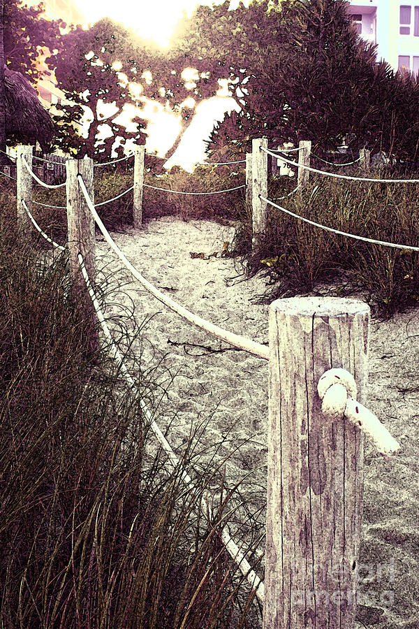Grassy Beach Post Entrance At Sunset Photograph  - Grassy Beach Post Entrance At Sunset Fine Art Print