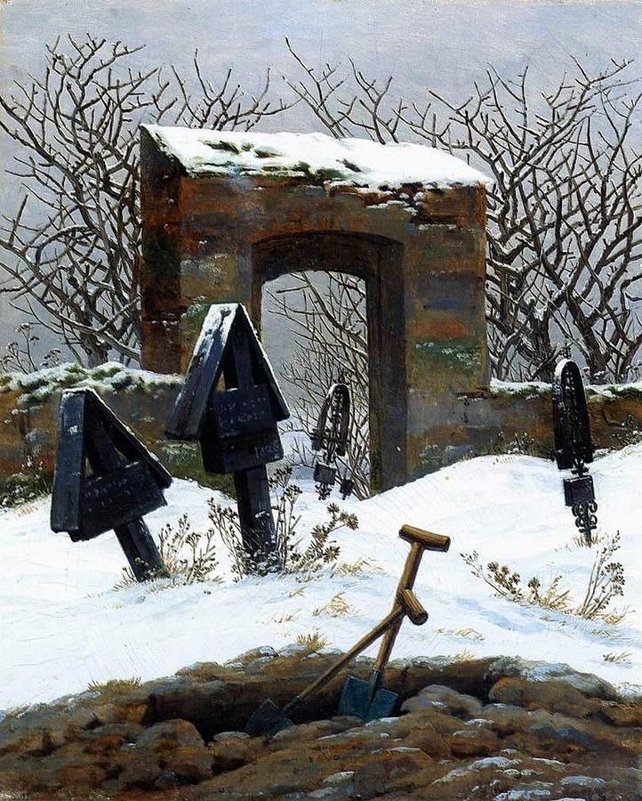 Caspar Painting - Graveyard Under Snow by Philip Ralley