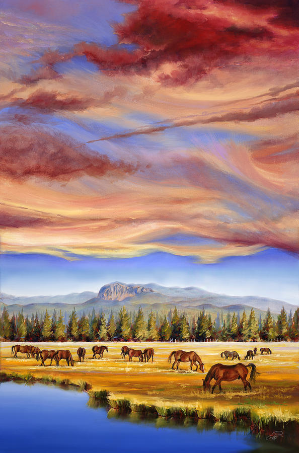 Grazing Sunriver Meadow Painting  - Grazing Sunriver Meadow Fine Art Print