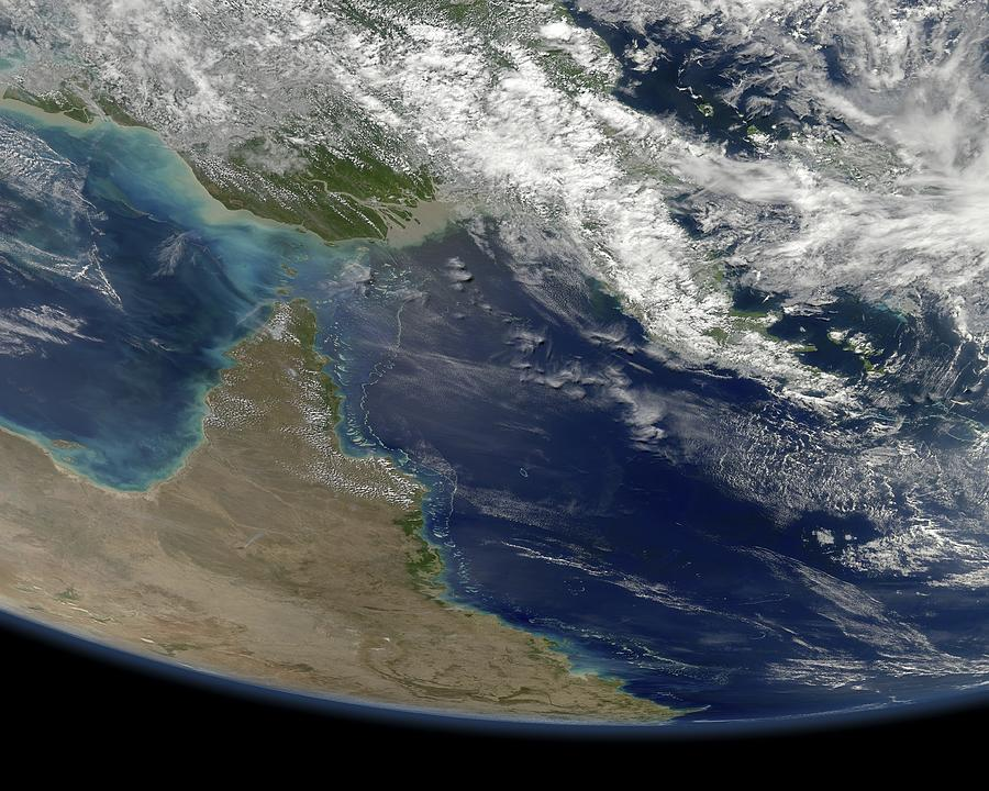 Great Barrier Reef Photograph - Great Barrier Reef, Satellite Image by Science Photo Library