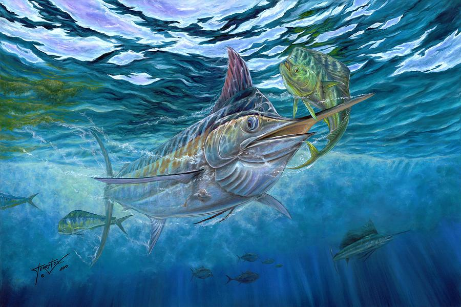 Great Blue And Mahi Mahi Underwater Painting  - Great Blue And Mahi Mahi Underwater Fine Art Print