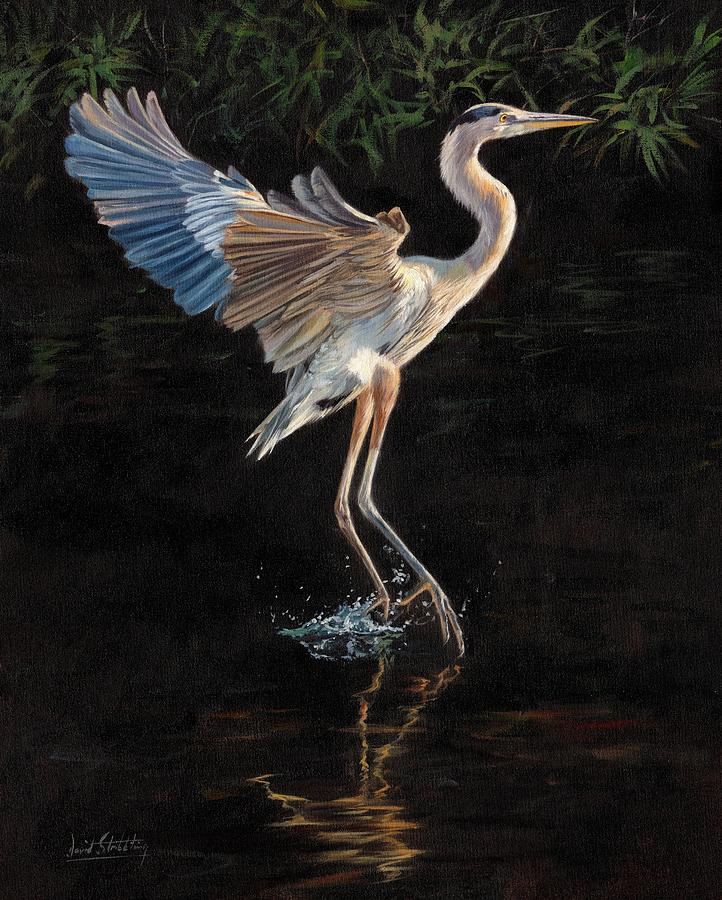 great blue heron painting by david stribbling