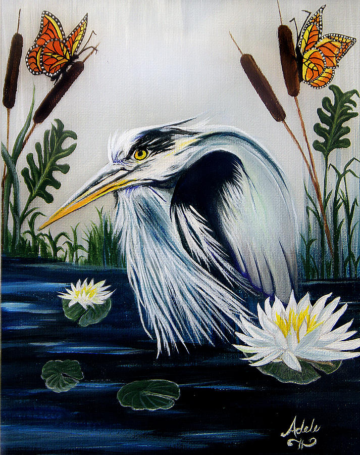 Great Blue Heron Painting - Great Blue Heron Happiness by Adele Moscaritolo