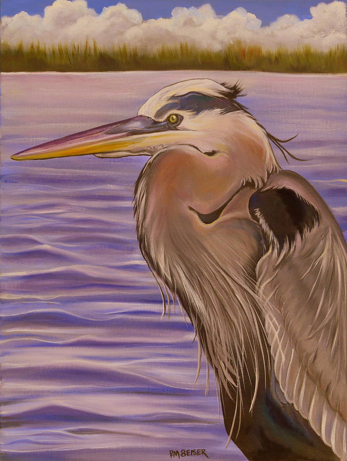 Great Blue Heron Portrait Painting  - Great Blue Heron Portrait Fine Art Print