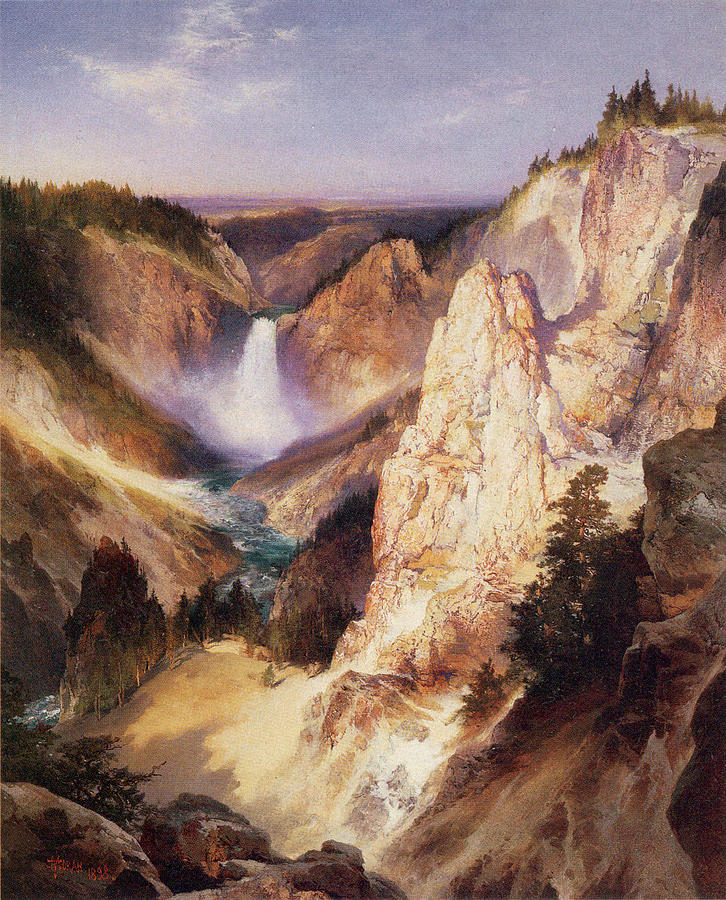 Great Falls Of Yellowstone Digital Art  - Great Falls Of Yellowstone Fine Art Print