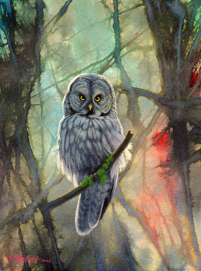 Great Grey Owl In Abstract Painting