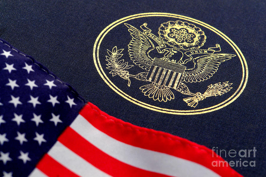 Great Seal Of The United States And American Flag Photograph