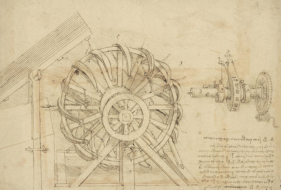 Great Sling Rotating On Horizontal Plane Great Wheel And Crossbows Devices From Atlantic Codex Drawing