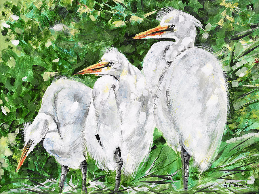 Great white egret painting by alan metzger for White heron paint