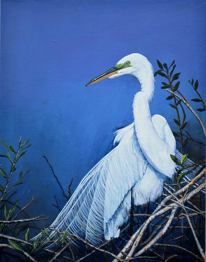 Great white heron painting by mary ann blosser for White heron paint