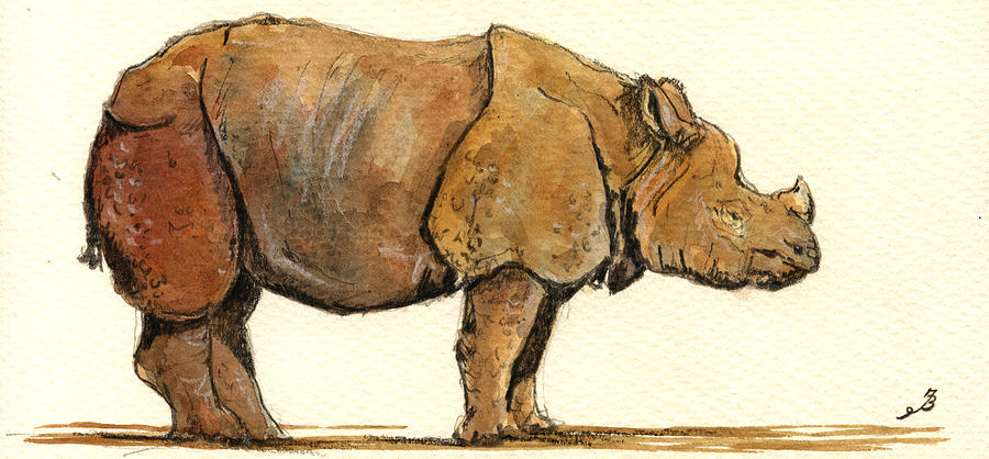 Greated One Horned Rhinoceros Painting  - Greated One Horned Rhinoceros Fine Art Print