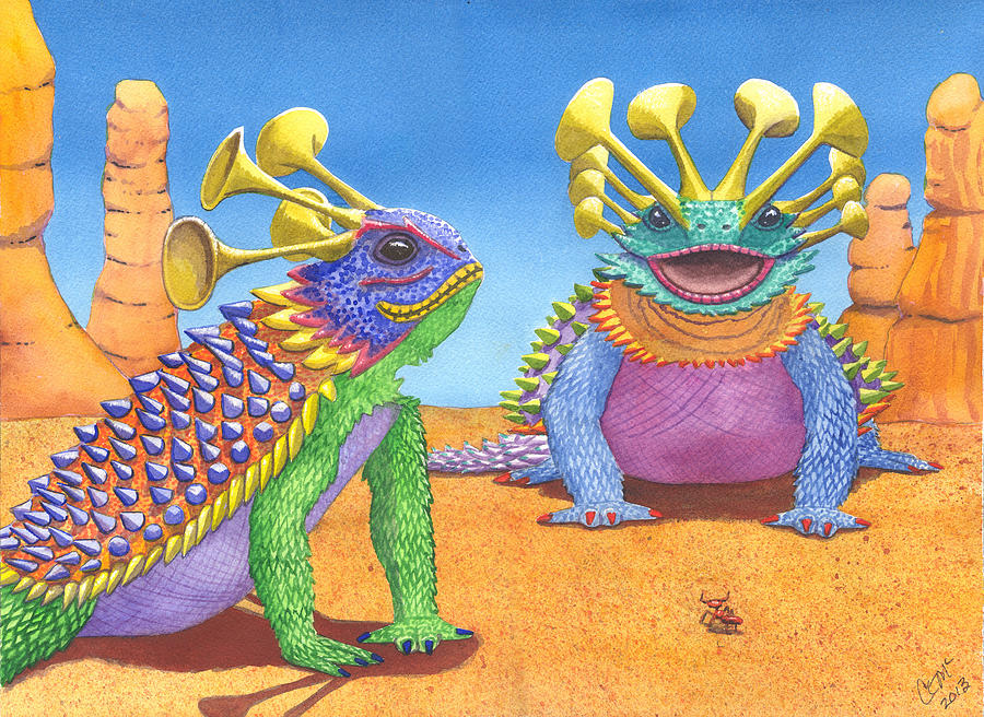 Greater And Lesser Horned Lizards Painting  - Greater And Lesser Horned Lizards Fine Art Print