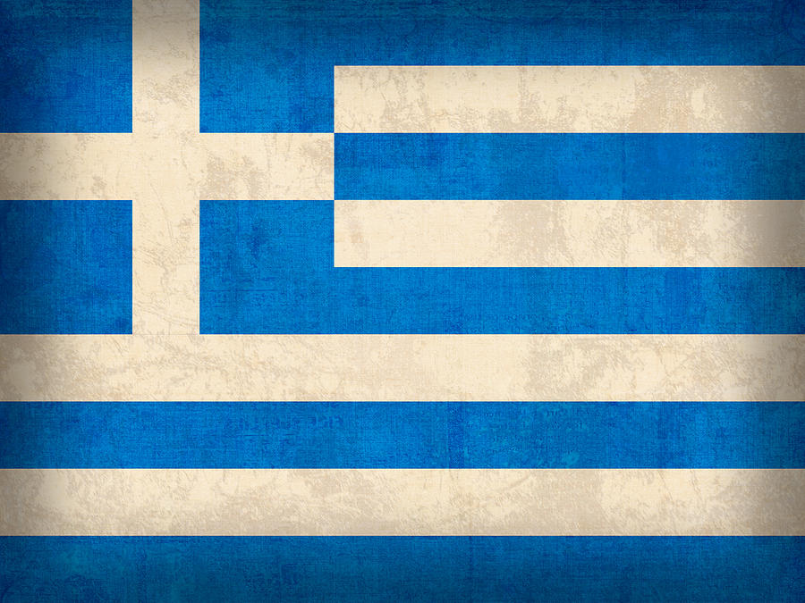 Greece Flag Vintage Distressed Finish Mixed Media  - Greece Flag Vintage Distressed Finish Fine Art Print