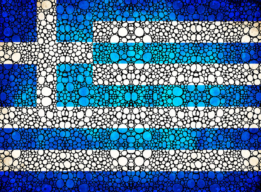 Greek Flag - Greece Stone Rockd Art By Sharon Cummings Painting  - Greek Flag - Greece Stone Rockd Art By Sharon Cummings Fine Art Print