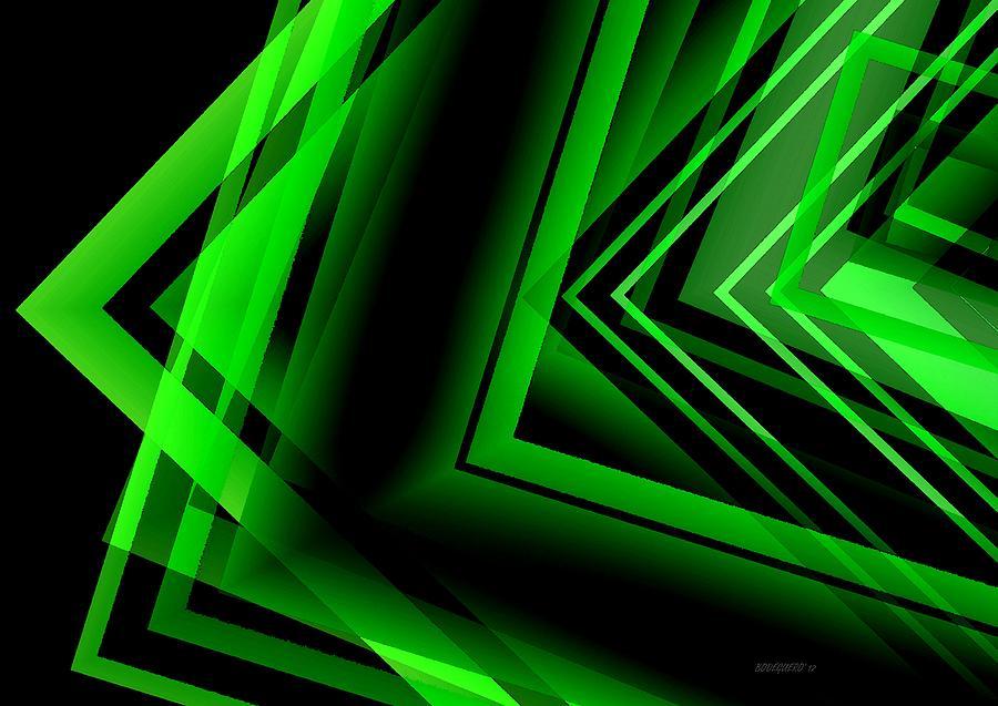 Green Digital Art - Green Abstract Geometric by Mario Perez