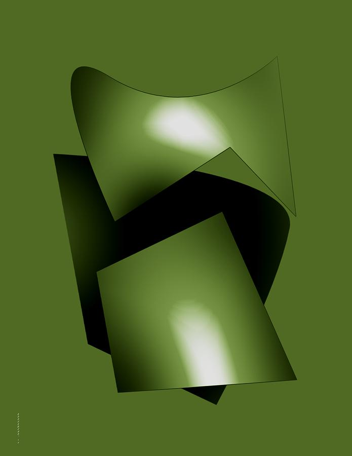 Green Abstract Geometry Digital Art