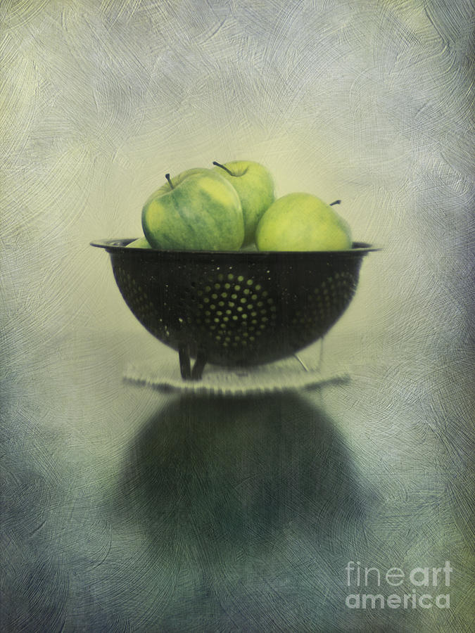 Green Apples In An Old Enamel Colander Photograph  - Green Apples In An Old Enamel Colander Fine Art Print