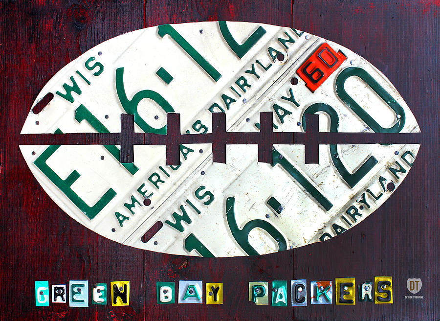 Green Bay Packers Football License Plate Art Mixed Media