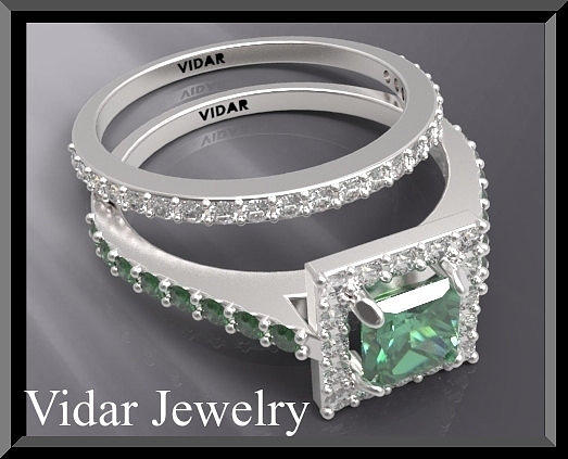 Green Emerald And Diamond 14k White Gold Wedding Ring Set Jewelry