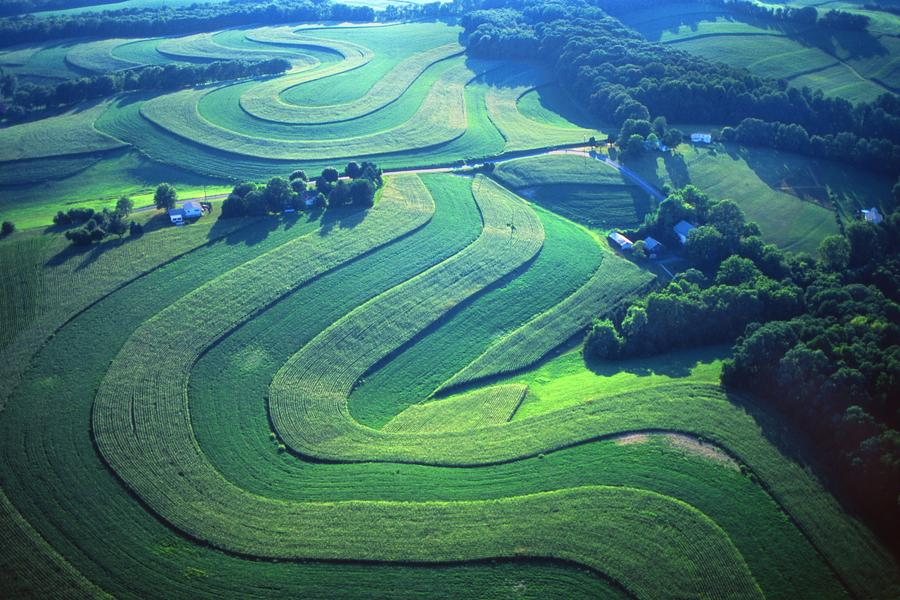 Farm Designs Photograph - Green Farm Contours Aerial by Blair Seitz