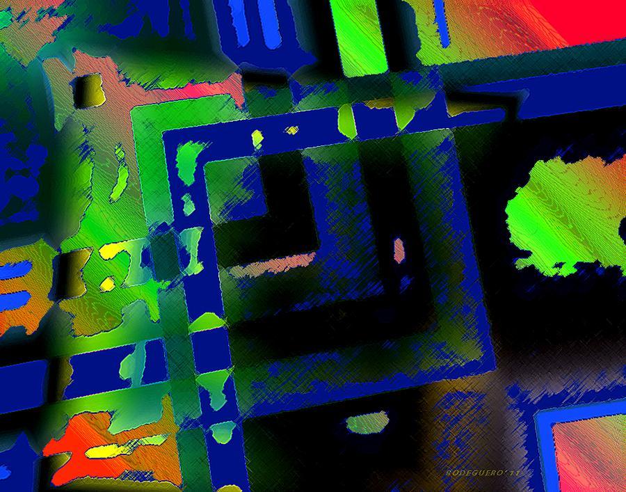 Green Geometric Spots Digital Art