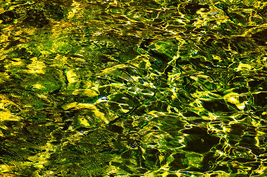 Green Gold Water Abstract. Feng Shui Photograph  - Green Gold Water Abstract. Feng Shui Fine Art Print
