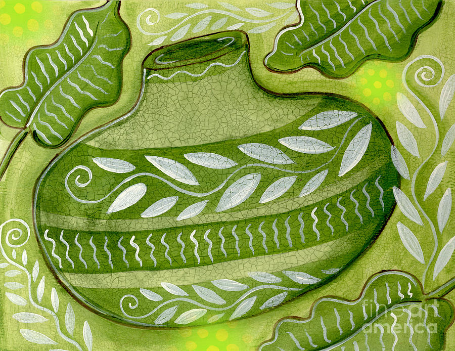 Leaves Mixed Media - Green Gourd by Elaine Jackson