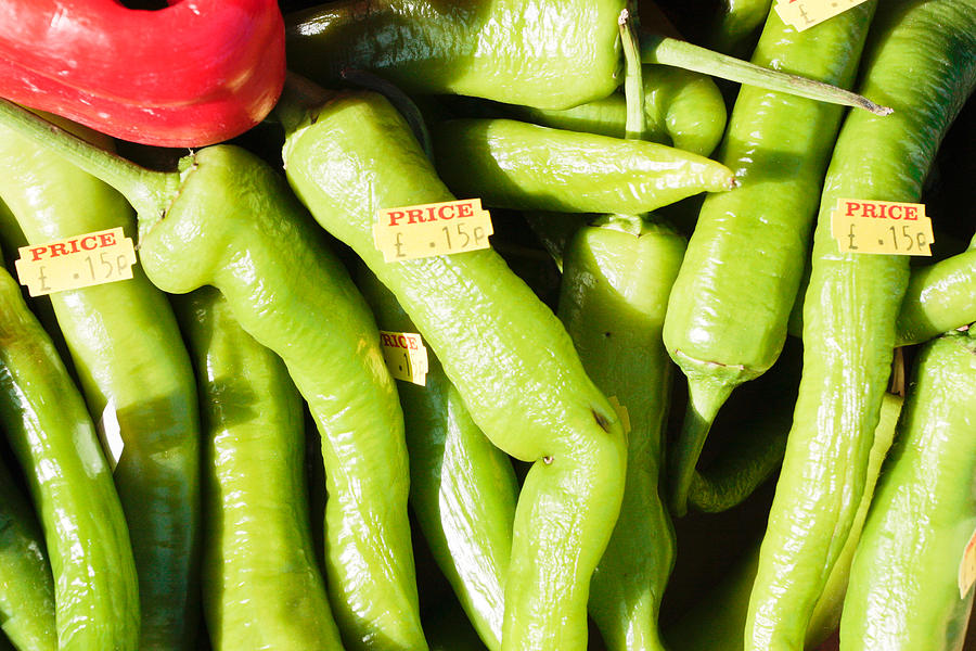 Cayenne Photograph - Green Jalpeno Peppers by Tom Gowanlock