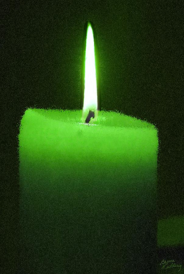 Green lit candle painting by bruce nutting for Candle painting medium