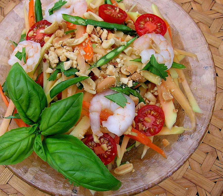 Green Papaya Salad With Shrimp Photograph - Green Papaya Salad With Shrimp by James Temple