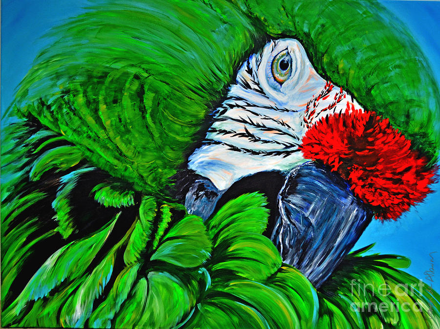 Green parrot painting - photo#21