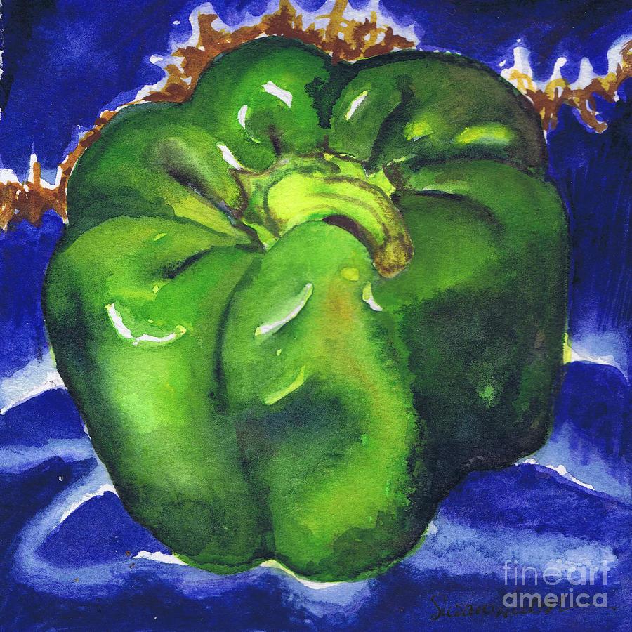 Green Pepper On Blue Tile Painting
