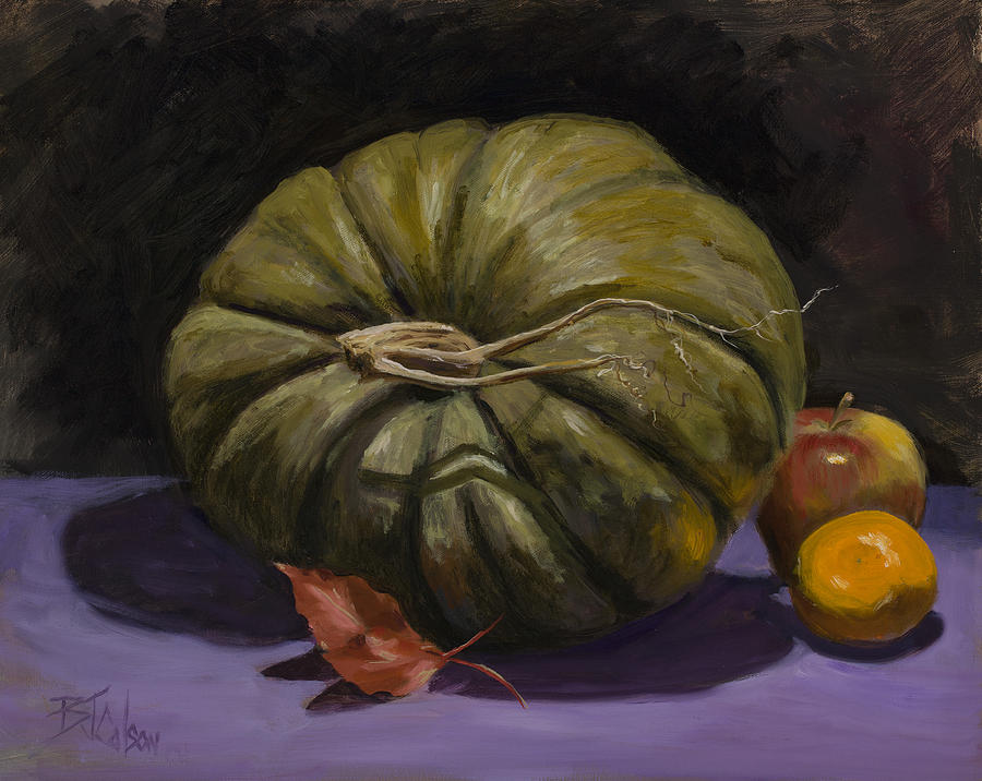 Green Pumpkin With Friends Painting  - Green Pumpkin With Friends Fine Art Print