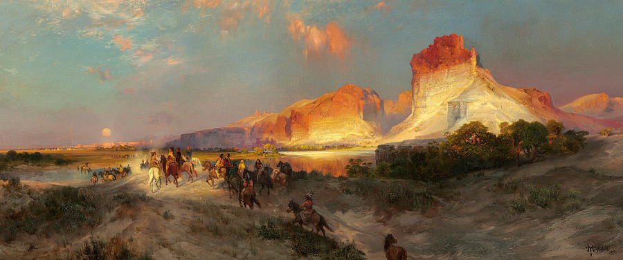 Landscape; Wild; West; Horse; Sunset; Mountains; Panorama; Natives; American; Indian; Horses; Riding; Native Painting - Green River Cliffs Wyoming by Thomas Moran