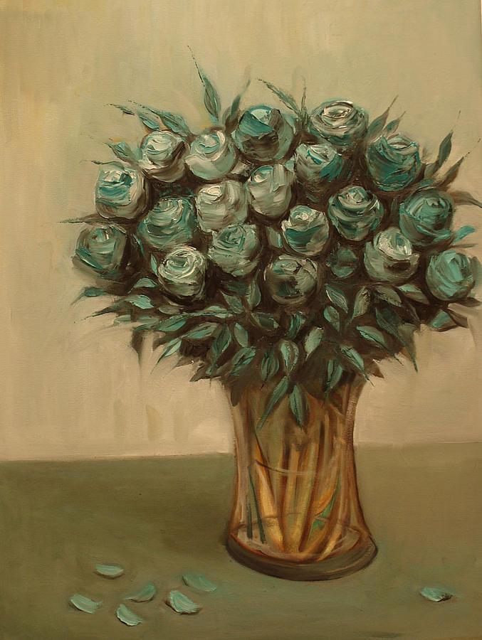 Green Roses Painting By Venera Koch