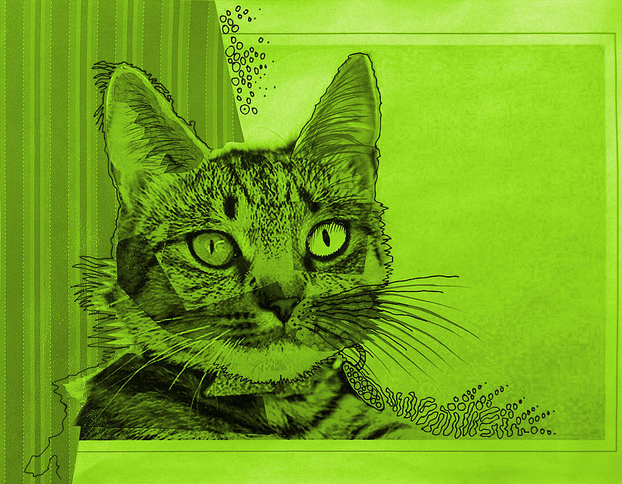 Green Sanguine ... Abstract Cat Art Painting Painting  - Green Sanguine ... Abstract Cat Art Painting Fine Art Print
