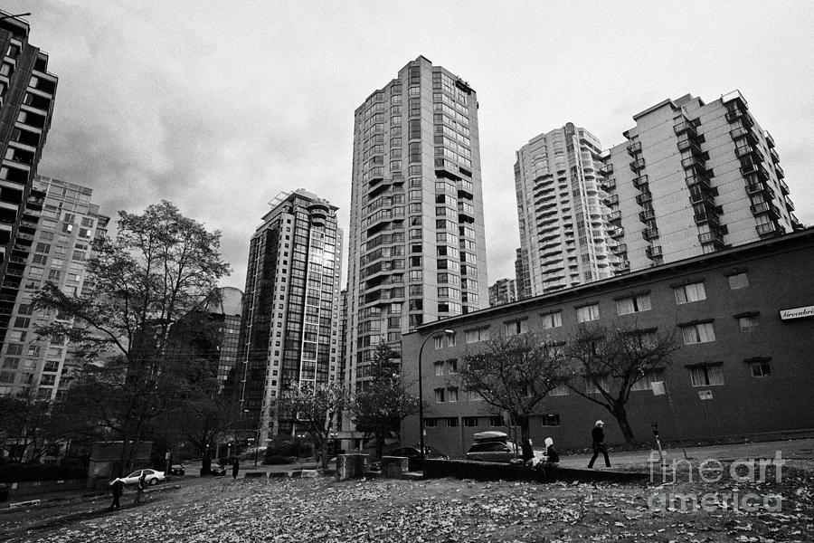 Green Space In Front Of High Rise Apartment Condo Blocks In The West End Between Robson And West Geo Photograph  - Green Space In Front Of High Rise Apartment Condo Blocks In The West End Between Robson And West Geo Fine Art Print