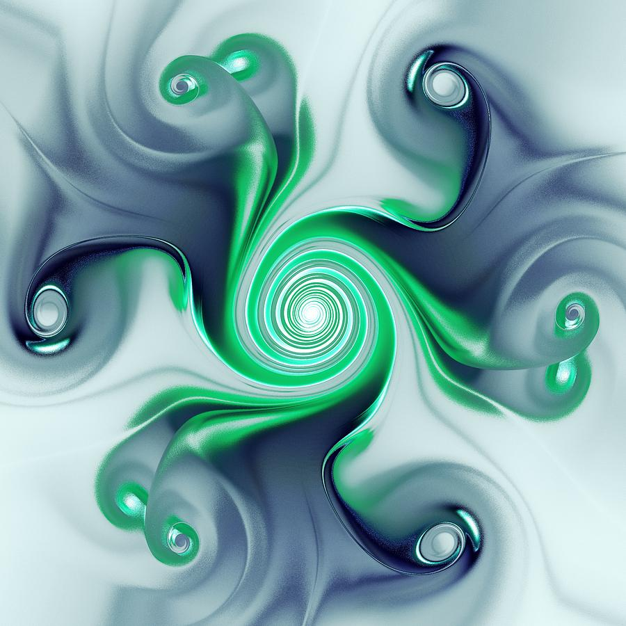 Green Swirls Digital Art  - Green Swirls Fine Art Print